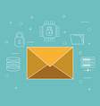 envelope email with online security icons vector image vector image