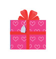 festive giftbox wrapped in paper with pink hearts vector image vector image