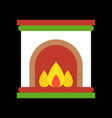 fireplace merry christmas icon set flat design vector image vector image