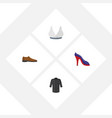 flat icon garment set of heeled shoe uniform vector image vector image