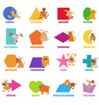 geometric shapes with dogs and puppies set vector image