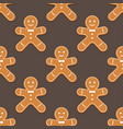 gingerbread man christmas cookies seamless pattern vector image