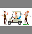 golf player male hitting golf ball vector image vector image