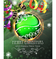 Green Christmas bauble with fir branches and vector image vector image