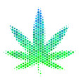 halftone blue-green cannabis icon vector image