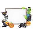halloween sign with bat and frankenstein vector image