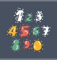 hand drawn numbers set vector image vector image