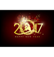 Happy new year 2017 with gold background vector image vector image