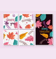 happy thanksgiving banners collection floral vector image vector image