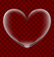 Heart shaped transparent glass vector image vector image
