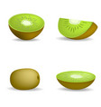 kiwi fruit food slice icons set realistic style vector image vector image