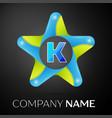 letter k logo symbol in the colorful star on black vector image