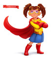 little girl in superhero costume with red coats vector image vector image