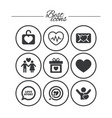 love valentine day icons target with heart vector image
