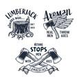 lumberjack axe or ax set print for axeman vector image vector image