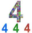 Mosaic font design set - number 4 vector image vector image