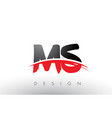 ms m s brush logo letters with red and black vector image vector image