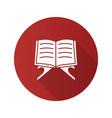 open quran book flat design long shadow glyph icon vector image