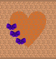 orange heart with purple bows vector image vector image