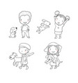 people with pets cute cartoon men and women vector image vector image