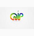 qp q p rainbow colored alphabet letter logo vector image vector image