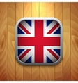 Rounded Square United Kingdom Flag Icon on Wood vector image vector image