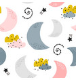 seamless childish pattern with moons clouds vector image