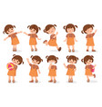 set girls characters cartoon style vector image