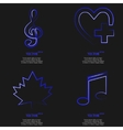 Set of fashionable blue icons trending symbols vector image