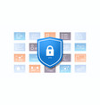 shield with padlock desktop or mobile application vector image vector image
