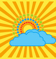 the sun with bright rays behind the clouds vector image vector image