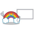thumbs up with board colorful rainbow character vector image vector image