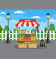 traditional wooden market food stall vector image vector image