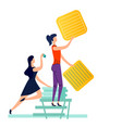two women fix task cards to wall using pins vector image vector image