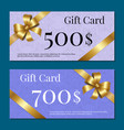 voucher on 500 set of posters gold bow ribbons vector image vector image