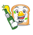 with beer sandwich with egg isolated in mascot vector image