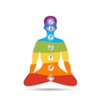 Yoga lotus pose with chakras for your design vector image