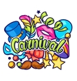 Celebration festive card with carnival icons and vector image