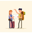 Two travelers are choosing a route map A guy and vector image