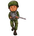 A brave soldier holding a gun vector image vector image
