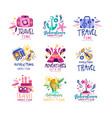 adventure travel happy time logo design set vector image vector image