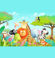 african exotic animals for kids in wild nature vector image