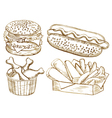 American food set vector image vector image