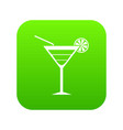 beach cocktail icon digital green vector image