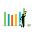 businessman painting graph vector image vector image