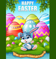 cartoon baby rabbit sitting in the woods near the vector image vector image