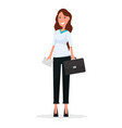 cartoon businesswoman with briefcase and envelope vector image vector image
