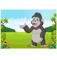 Cartoon gorilla waving vector image vector image