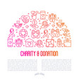 charity and donation concept in half circle vector image