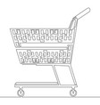 continuous one line drawn shopping cart vector image